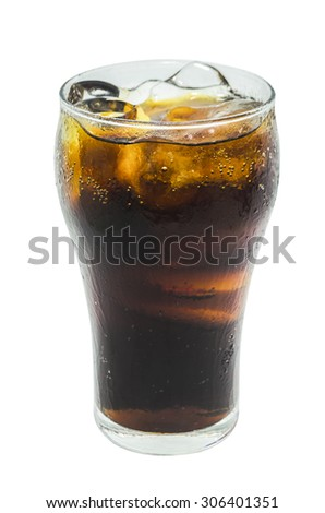 A soft drink in glass on white background. - stock photo