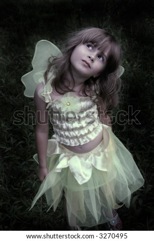 A soft focus image of a girl in a forest in a fairy costume - stock photo