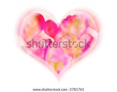 A soft heart is overflowing with smaller hearts - stock photo