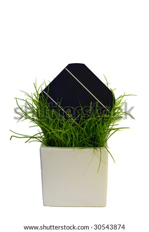 A 5 Solar-Cell in flower pot - stock photo