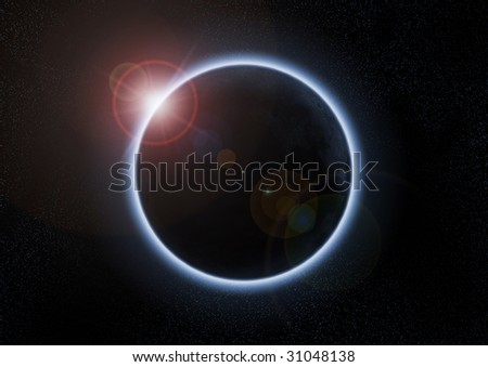 A solar eclipse occurs when the moon passes between the Sun and the Earth - stock photo