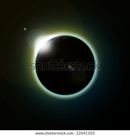 A solar eclipse of the planet earth as seen from space or the moon