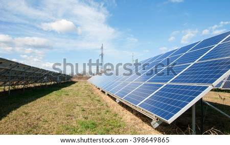 a solar panels close up - stock photo