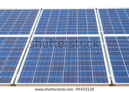 A solar panels in energy - stock photo