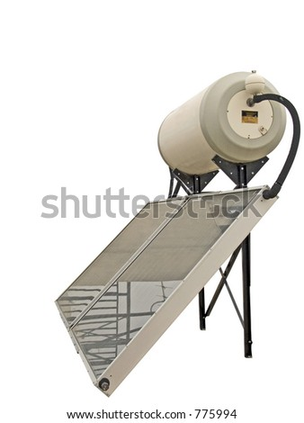 A solar water heating system - stock photo