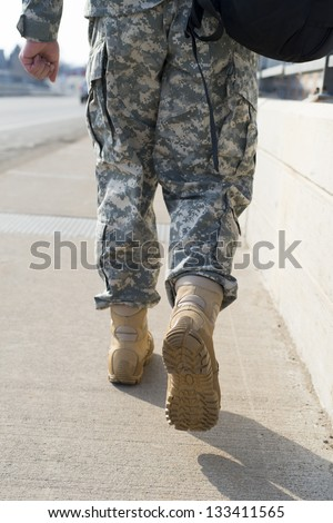 A soldier are walking