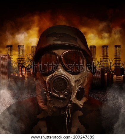 A soldier is wearing a gas mask in a polluted, scary city with smokestacks in the background for a war or hazard concept. - stock photo