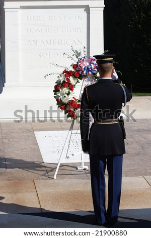 A soldier saluting at the Tomb of the Unknown Soldier - stock photo
