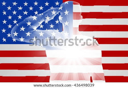 A soldier saluting in front of the American Flag, design for Memorial Day or Veterans Day - stock photo