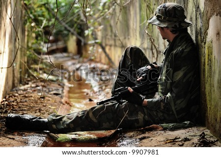 A soldier taking a break