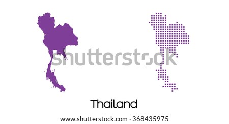 A Solid and Mosaic Map of  Thailand - stock photo
