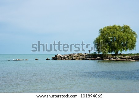 A solo person stands near a willow tree on a point of land jutting out into Lake Erie at Edgewater Park in Cleveland, Ohio - stock photo
