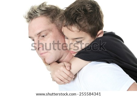 A son and his father pensive in studio white background - stock photo