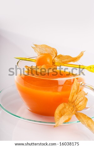 a soup bowl on the white table