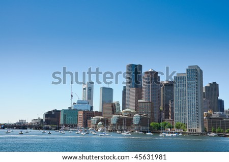 A southern horizontal view of the City of Boston - stock photo