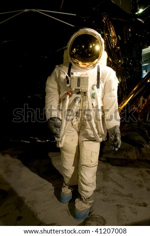 A space man on the moon - stock photo