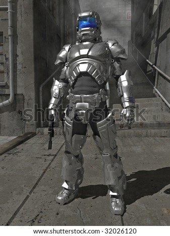 A Space Marine commander in reflective laser-repelling armor at rest in the urban jungle.