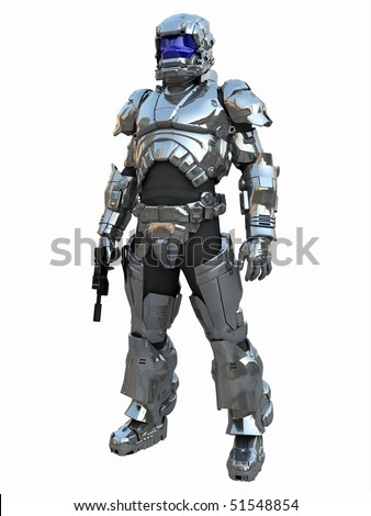 A Space Marine Major in reflective, laser-proof combat armour. - stock photo