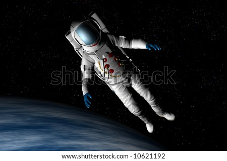 A spaceman floats above the earth - stock photo