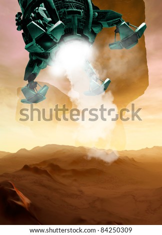 A Spaceship is seen landing on planet surface similiar to that of Mars. A low viewpoint with smoke eminating from beneath the ship. - stock photo