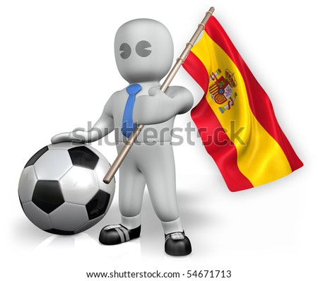 A Spain football fan with a ball and a flag - stock photo