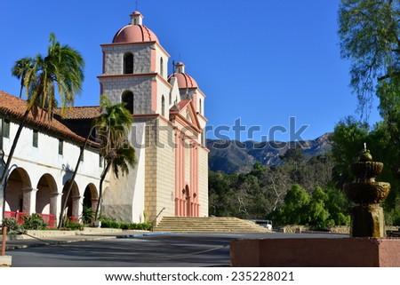 A Spanish Mission at Santa Barbara - stock photo