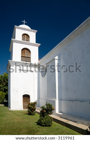 A Spanish-style church from the village of Nahuizalco in El Salvador - stock photo