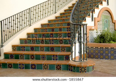 A Spanish style tile stairway. - stock photo