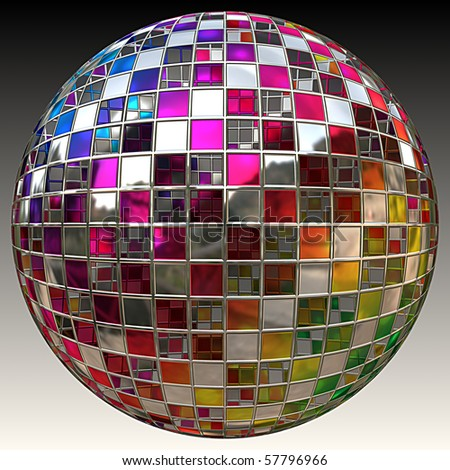 A sparkling glitter ball or disco ball