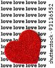 A sparkly red heart against a background of the word LOVE repeated many times - stock photo