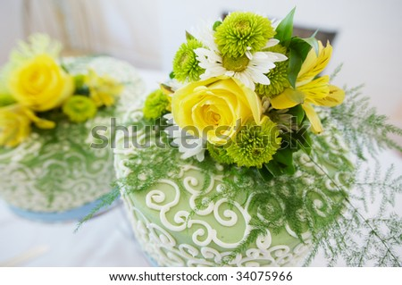 a special double wedding cake - stock photo