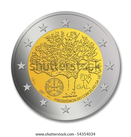 A special edition of a Portuguese 2 euro coin on the memorial of Portugal as president of the EU council