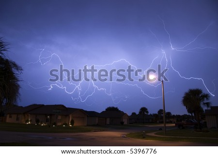 A spectacular display of cloud to cloud lightning during a late summer night storm in Central Florida