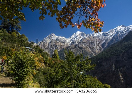 A spectacular view of Kinnar Kailash Peak from the Ragu Village in Himachal Pradesh,India. - stock photo