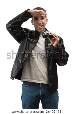 A spectator shading his eyes from the sun, while holding a set of binoculars, isolated against a white background - stock photo