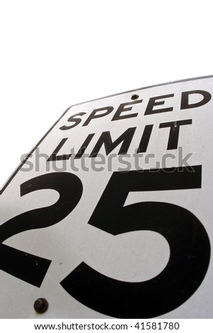 A speed limit sign showing the speed, 25 - stock photo