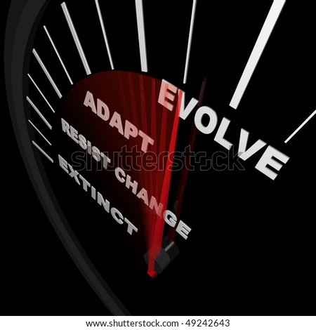 A speedometer tracks the progress of change, with needle racing from Extinct to Evolve - stock photo