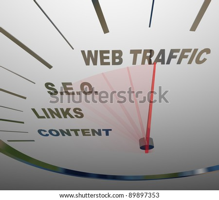 A speedometer with needle racing past the necessary elements in a web traffic growth strategy, from content to links to S.E.O. to increased online readership - stock photo