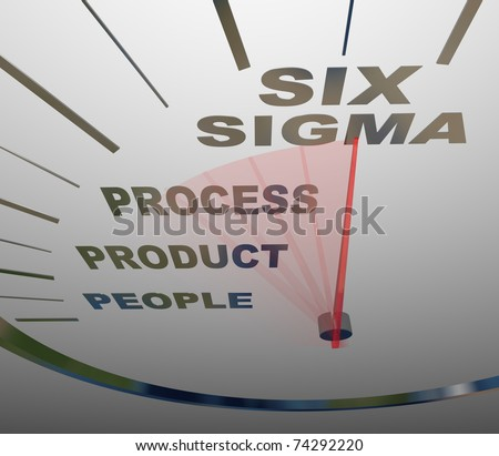 A speedometer with the words Six Sigma and its core principles - people, process and product - stock photo