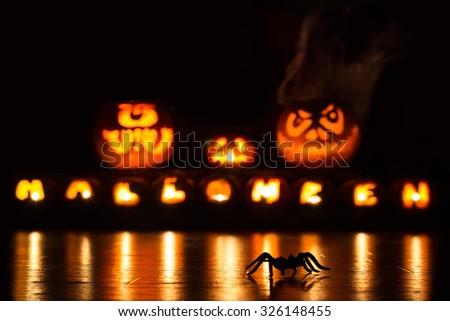 A spider is running in the dark in front of lit Halloween pumpkins - stock photo