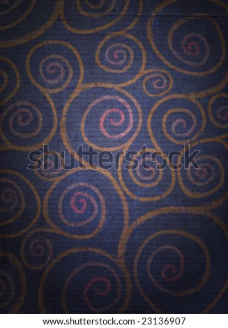 A spiral pattern, reminicent of flowers, on a dark distressed background - stock photo
