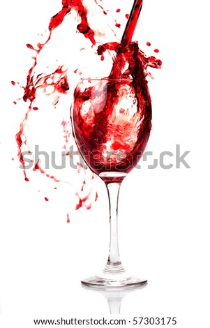 a splash of wine in glass isolated on white