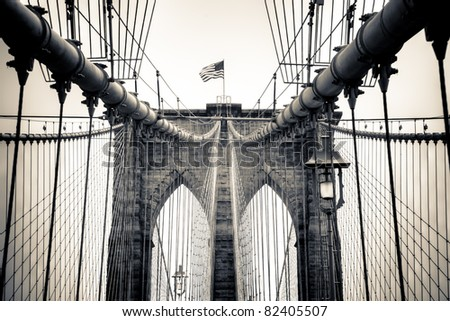 A split tone conversion of New York's famous landmark, the Brooklyn Bridge - stock photo