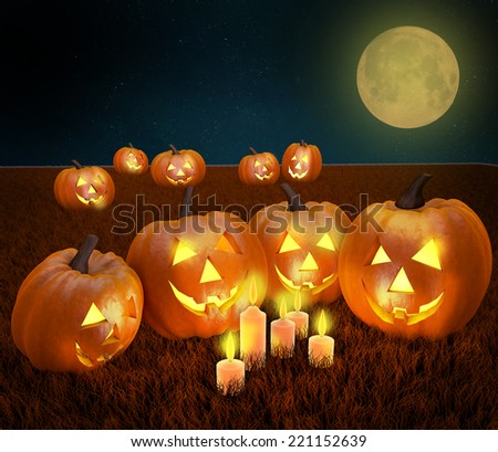 A spooky scary blue Halloween background scene with full moon, pumpkins with candle light