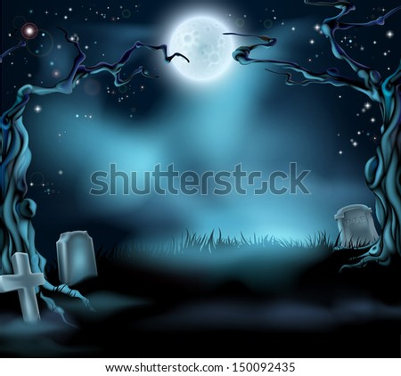 A spooky scary Halloween background scene with full moon, graves and scary trees - stock photo