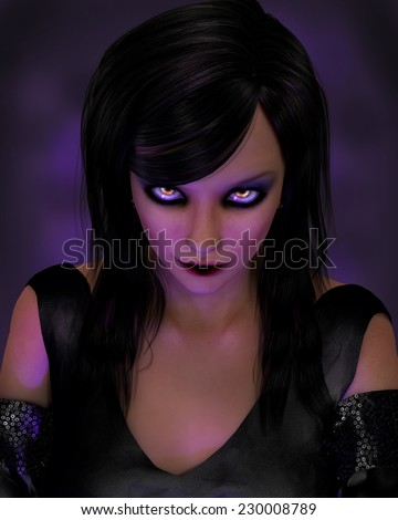 A spooky woman with yellow glowing eyes and long black hair.  Purple lighting makes it mysterious.