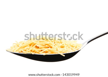 A spoon full of vermicelli, isolated on pure white background.