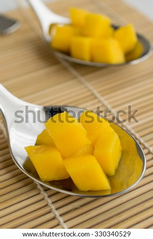 A spoon with mango pieces on a wood background