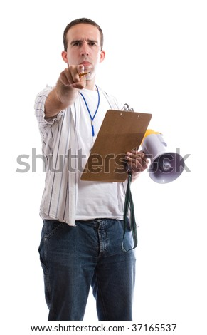 A sports coach pointing at the viewer, isolated against a white background