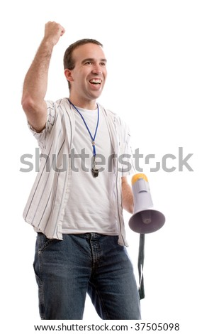 A sports fan shaking his fist in the air and looking excited, isolated against a white background